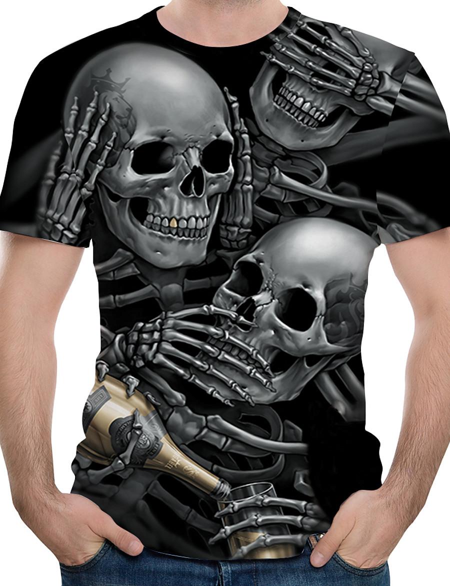 Men's Tee T shirt Shirt Graphic 3D Skull Print Short Sleeve Casual Tops Basic Designer Big and Tall Round Neck Black