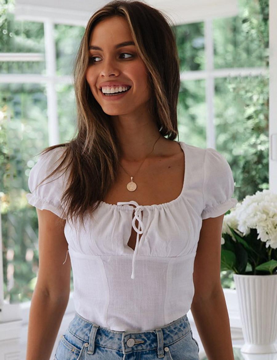Women's Slim Shirt - Solid Colored V Neck White M