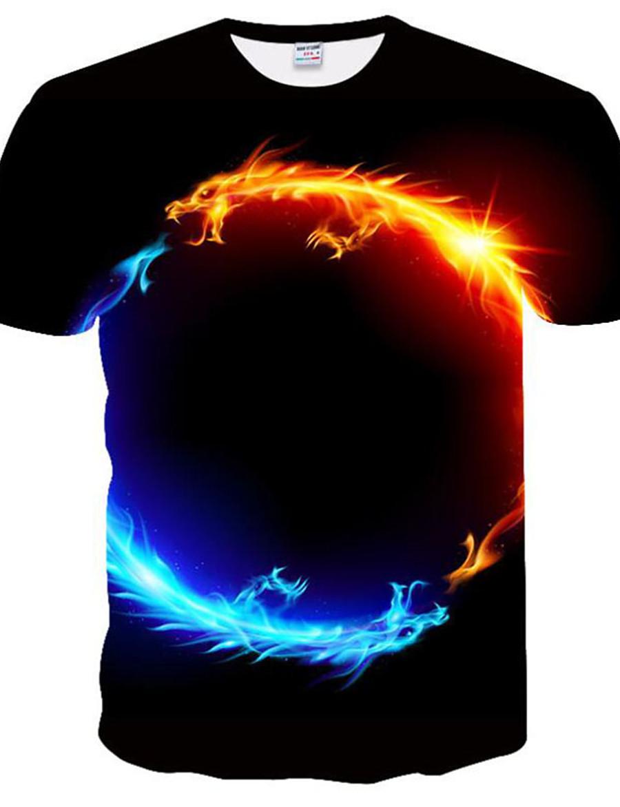 Men's T shirt Graphic 3D Plus Size Print Tops Round Neck Black