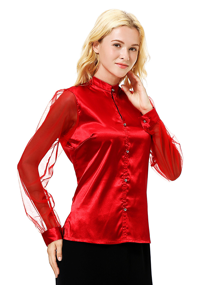 Women's Slim Shirt - Solid Colored Mesh Shirt Collar Red