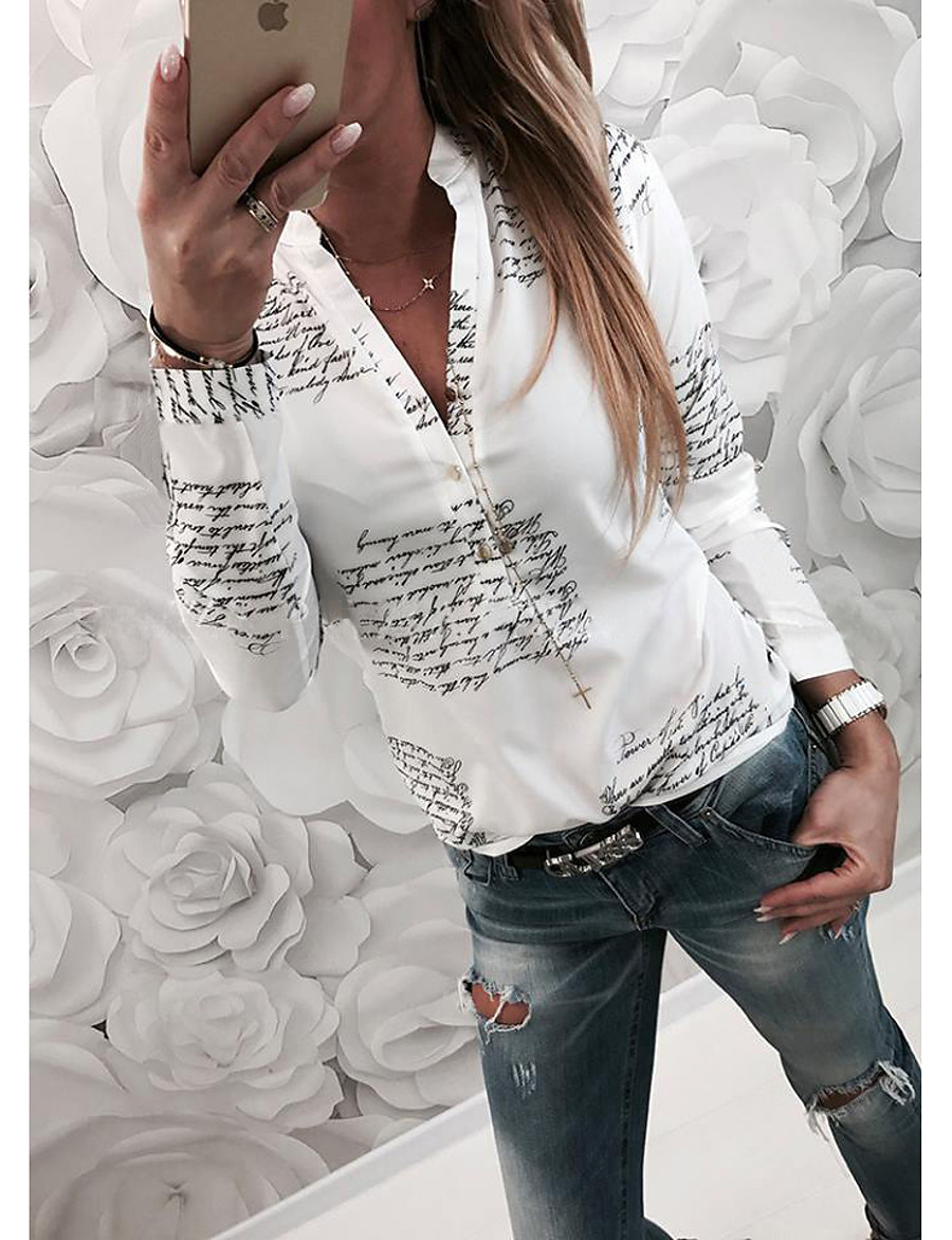 2019 Hot Sale Blouses Women's Basic Slim Shirt - Letter Blusas Mujer De Moda Roupa Feminina Shirt Collar  White XL / Spring / Fall
