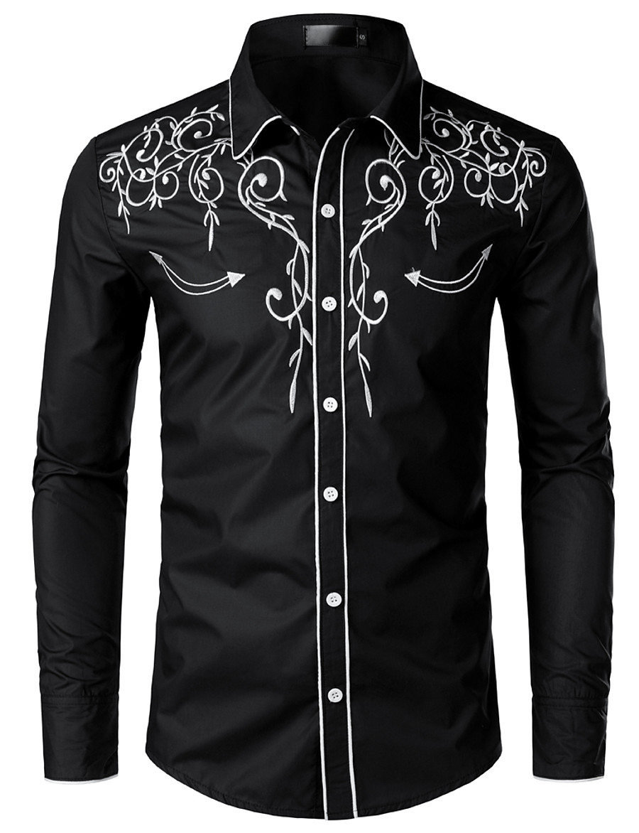 Men's EU / US Size Shirt - Solid Colored Embroidered Classic Collar Black