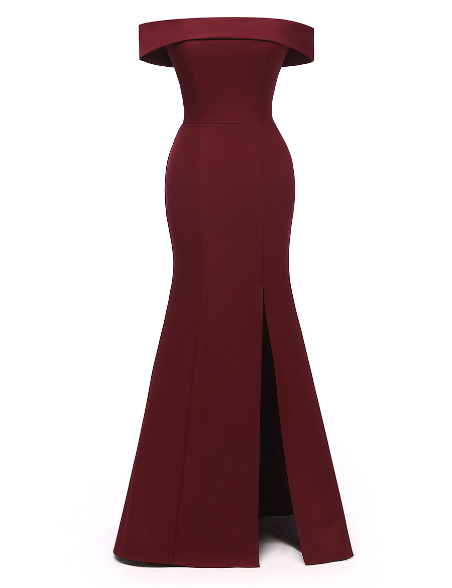 Women's Sheath Dress Maxi long Dress - Sleeveless Solid Color Split Summer Off Shoulder Sexy Party Slim 2020 Black Wine Navy Blue S M L XL XXL