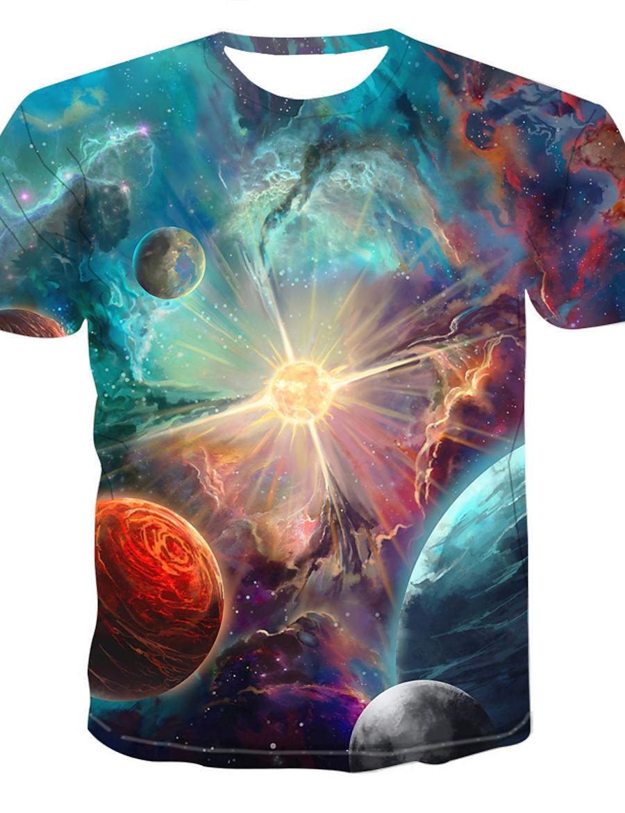 Men's Daily T-shirt - Galaxy Print Round Neck Rainbow / Short Sleeve / Summer