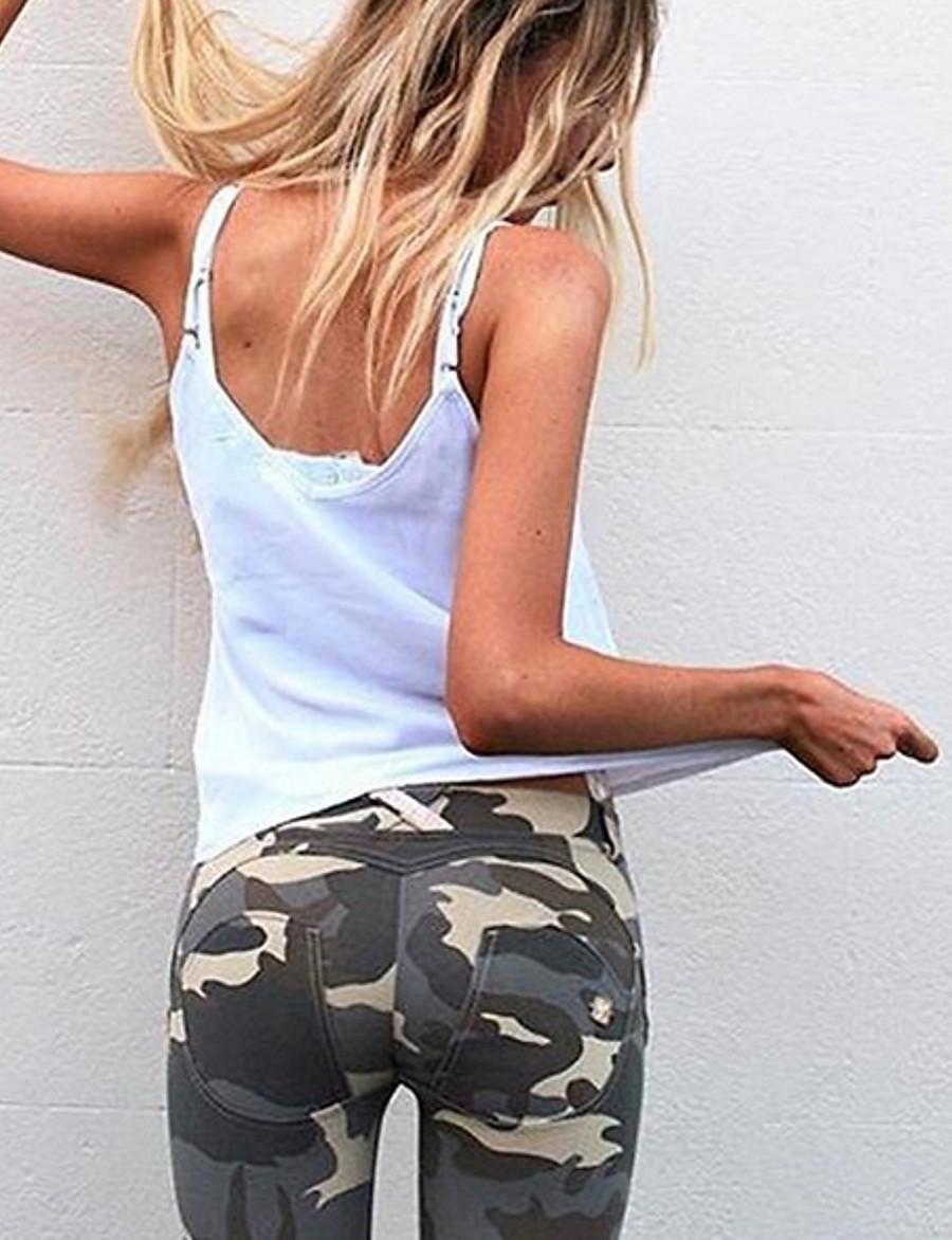 Women's Sexy Sporty Legging - Camouflage, Sexy / Slim Mid Waist Army Green S M L