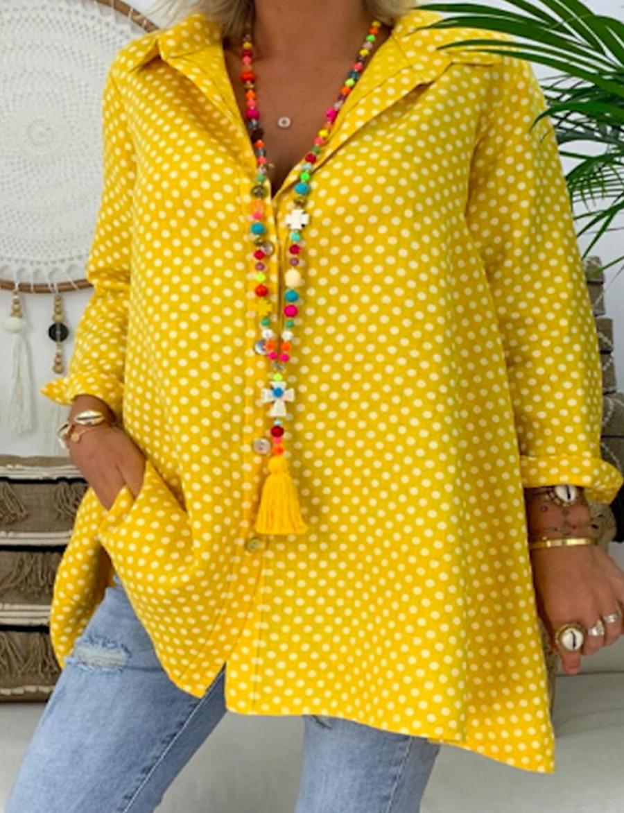 Women's Plus Size Blouse Shirt Polka Dot Shirt Collar Tops Loose Basic Top Blue Red Yellow
