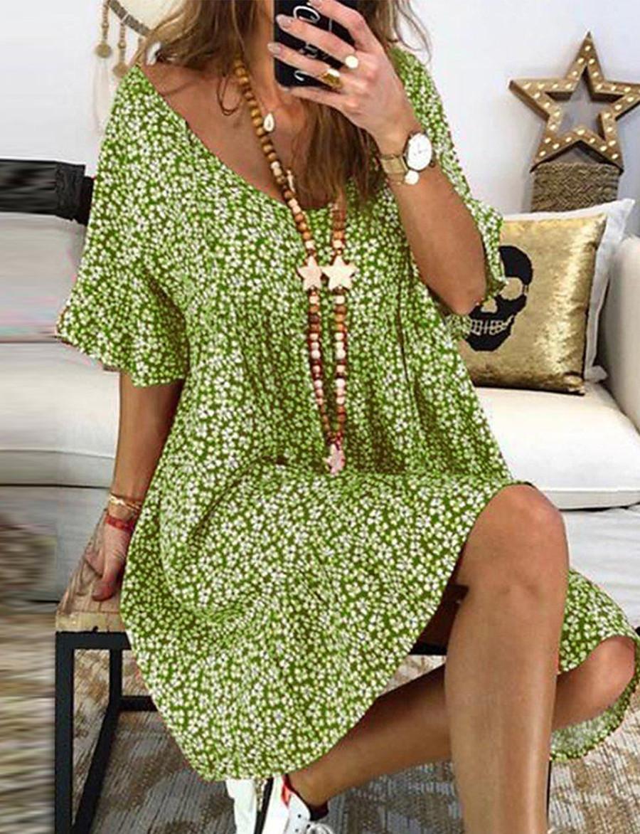 Women's Maxi Sheath Dress - Short Sleeve Geometric Spring & Summer V Neck Basic 2020 Blue Purple Red Yellow Green S M L XL XXL XXXL