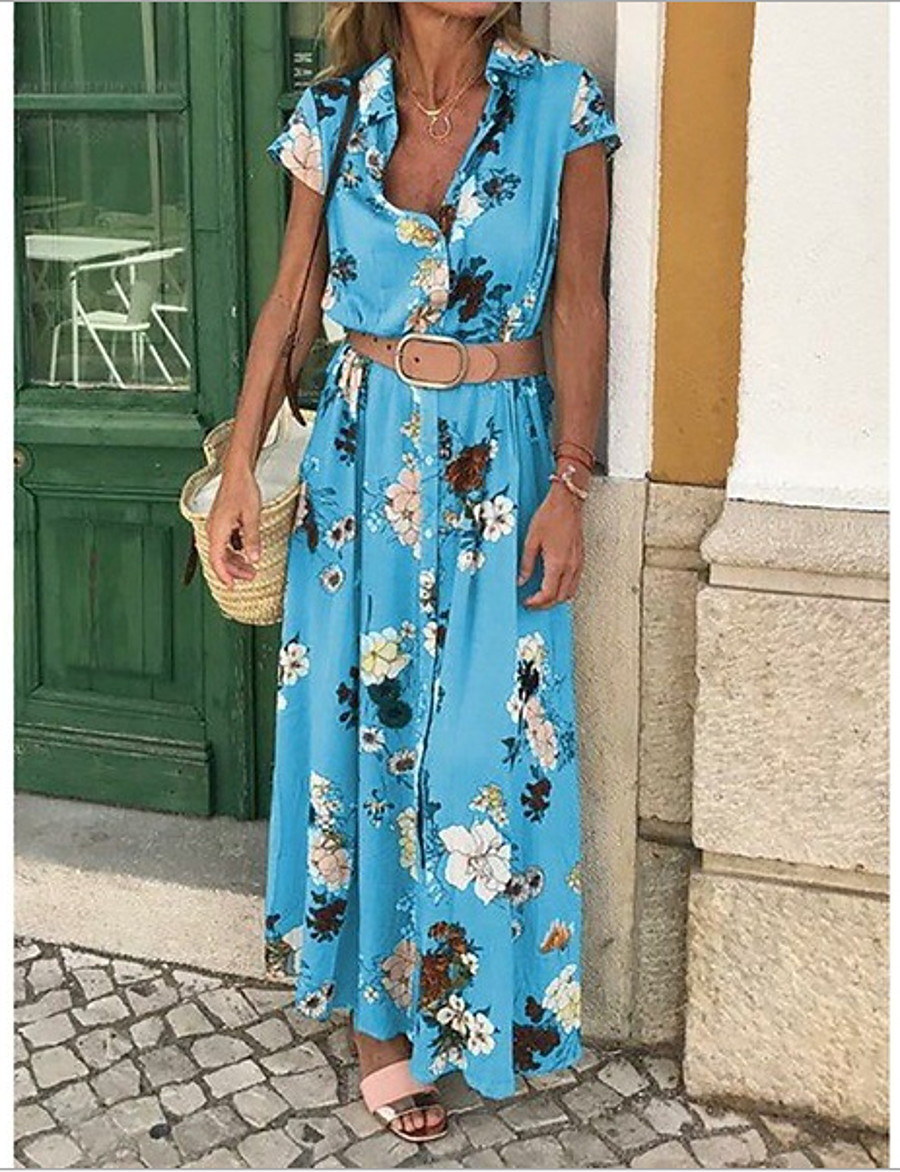 Women's Boho / Beach Maxi Purple Yellow Dress Casual Spring & Summer Holiday Vacation Sheath Floral Print Deep V Print S M Slim / Cotton