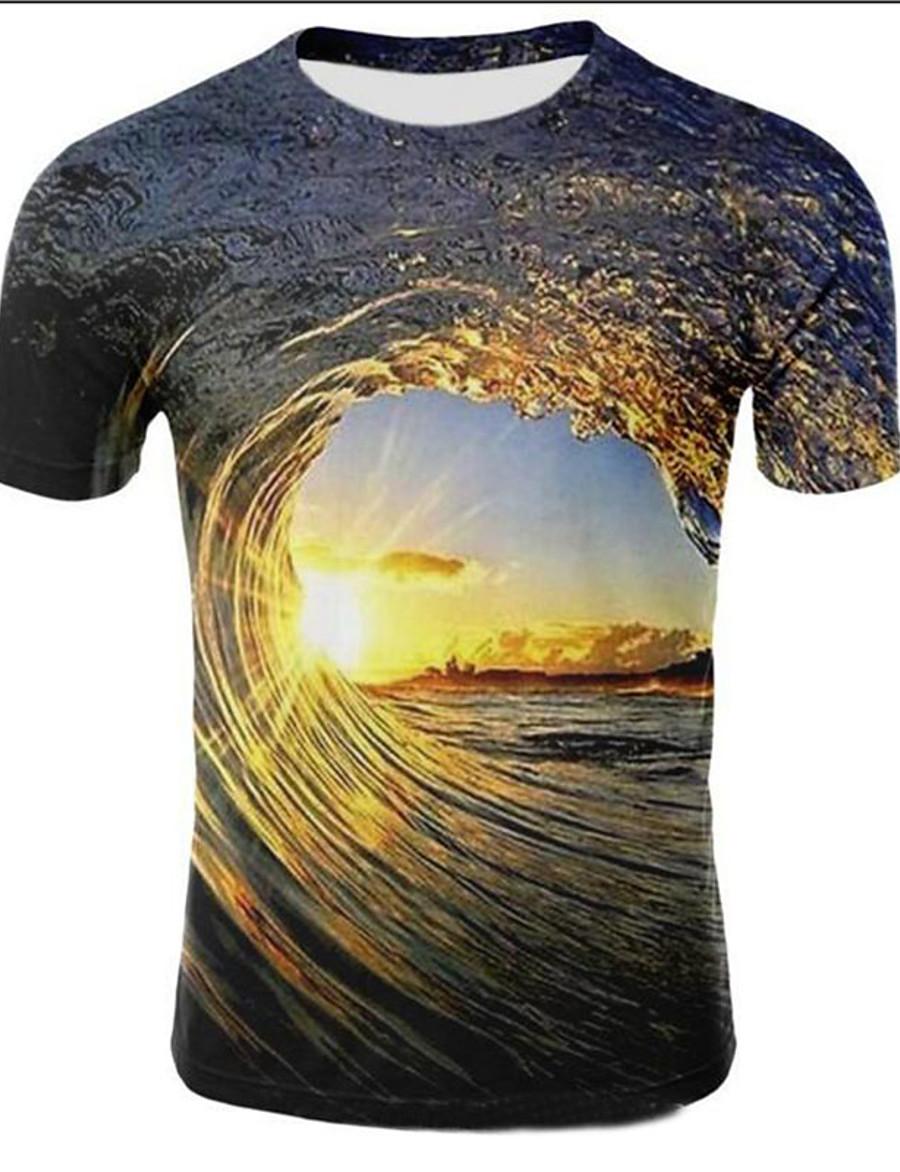 Men's Plus Size Galaxy 3D Print T-shirt Daily Casual Round Neck Light Brown / Light Purple / Gold / Dark Green / Royal Blue / Light Green / Summer / Short Sleeve