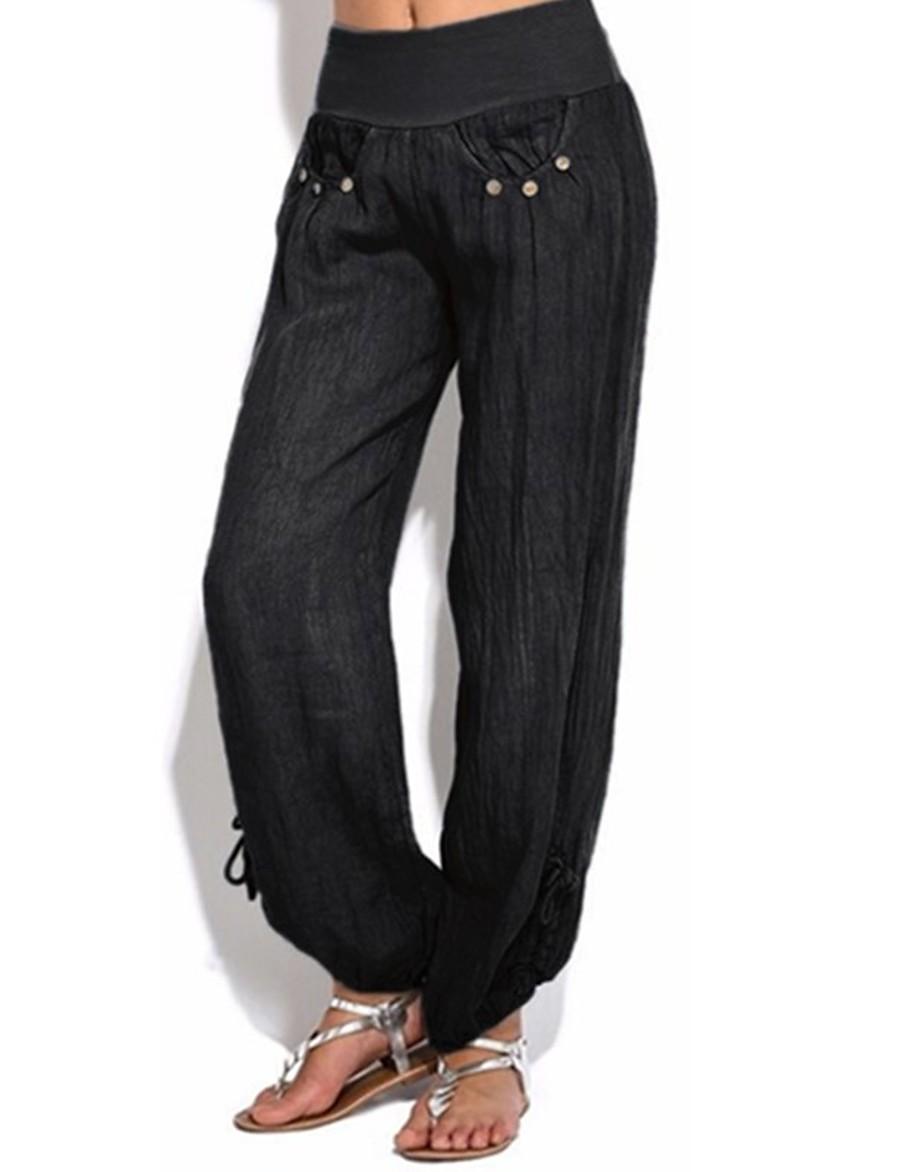 Femme Bohème Grandes Tailles Ample Chino Pantalon Couleur Pleine Fendu Patchwork Taille haute Blanche Noir Kaki