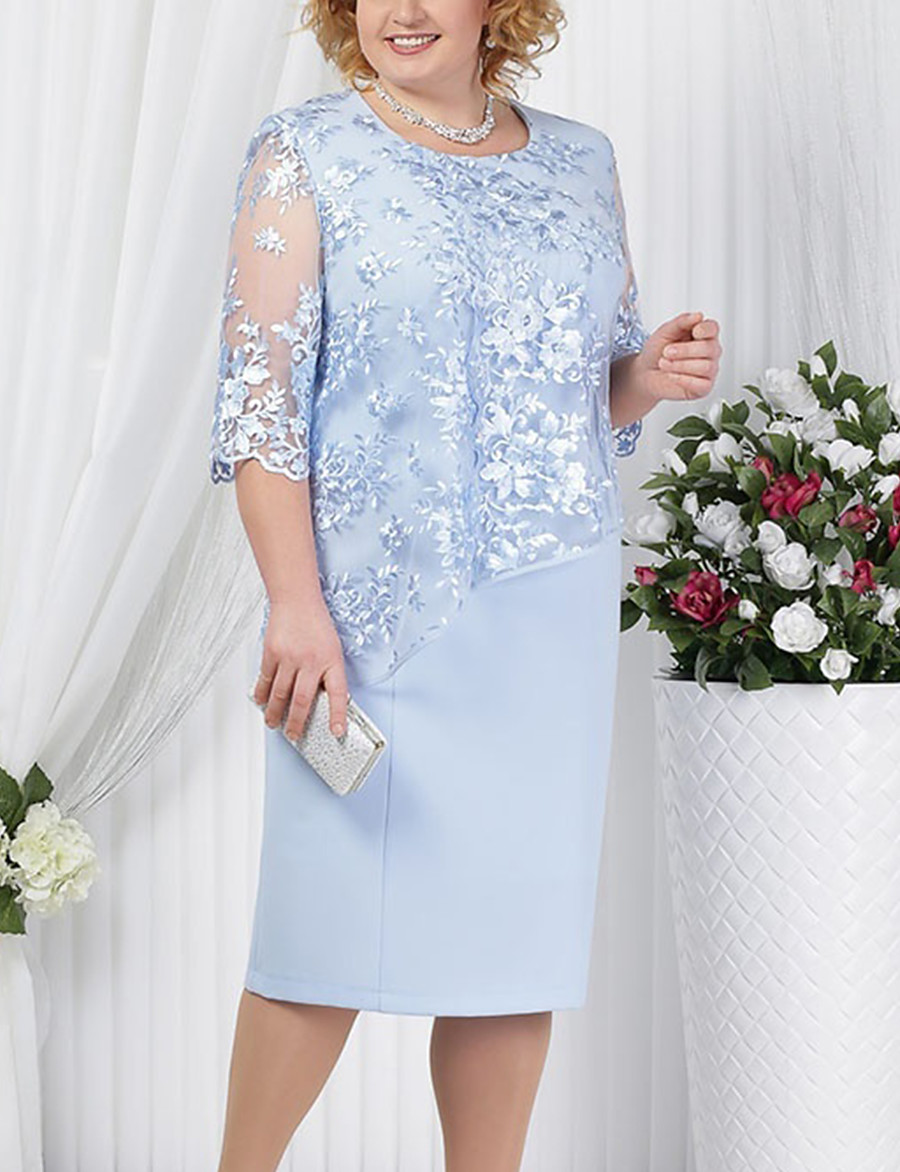 Women's Sheath Dress Knee Length Dress - Half Sleeve Solid Colored Lace Formal Style Summer Spring & Summer Plus Size Hot For Mother / Mom Going out 2020 Red Royal Blue Light Blue S M L XL XXL 3XL