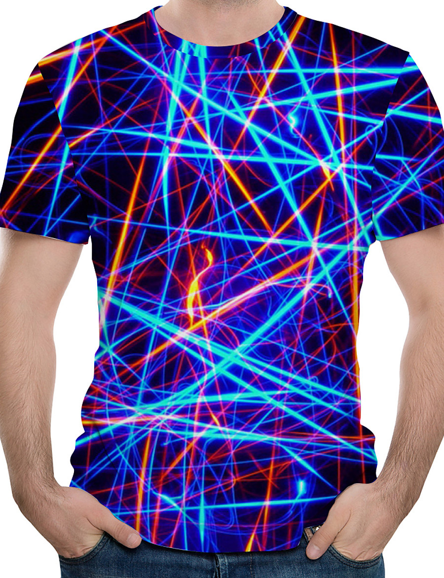 Men's Plus Size Abstract Graphic Print T-shirt Daily Round Neck White / Purple / Green / Royal Blue / Summer / Short Sleeve