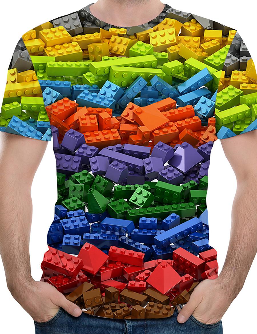 Men's EU / US Size T-shirt - 3D / Rainbow Print Round Neck Rainbow