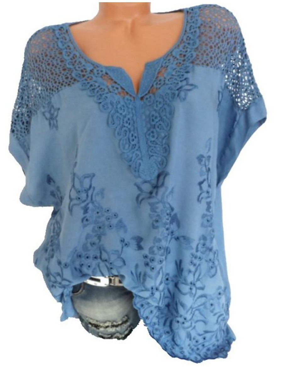 Women's Plus Size Solid Colored Loose Shirt V Neck White / Black / Blue / Red / Gray