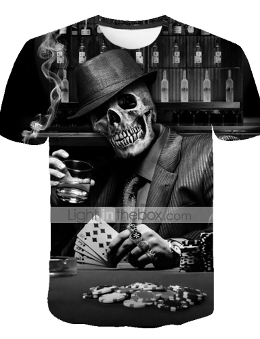 Men's Daily Street Exaggerated Plus Size T-shirt - 3D / Skull Print Round Neck Black / Short Sleeve / Summer