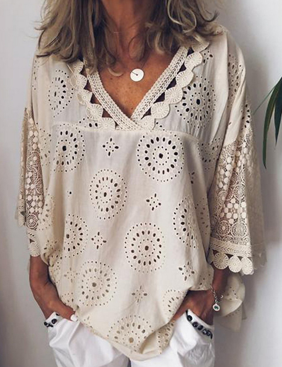 Women's Casual / Daily Plus Size Loose Shirt - Solid Colored Lace V Neck White