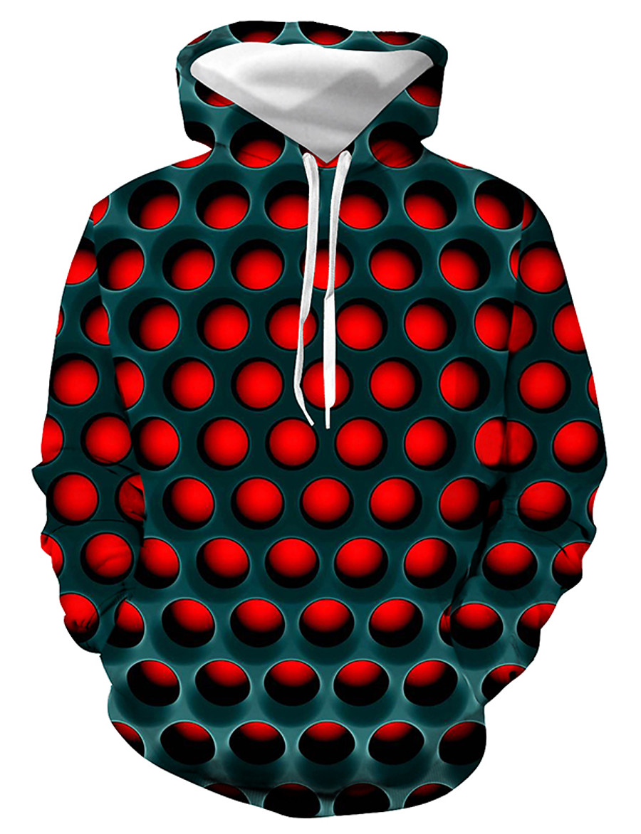 Men's Plus Size Basic / Casual / Daily Hoodie - Geometric / Color Block / 3D Hooded Red XXXL