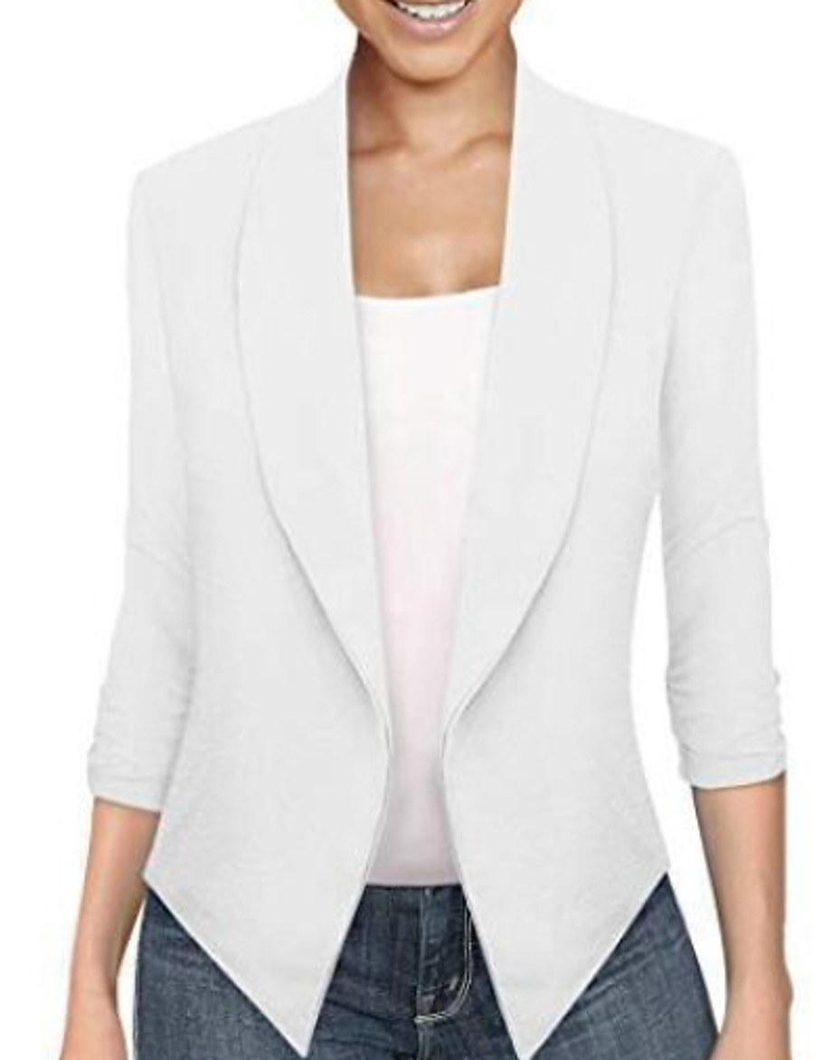 Women's Jacket Regular Solid Colored Daily White Black Blue Yellow S M L XL