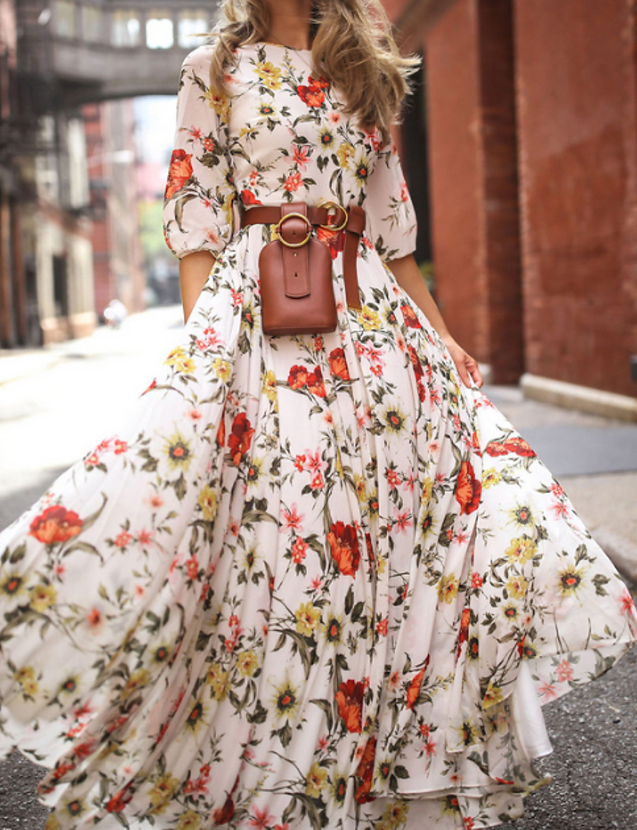 Women's Floral Long Maxi White Dress With Sleeve 2020 Ruffle Casual Spring Holiday Vacation Swing Flower Lantern Sleeve Flared Print S M