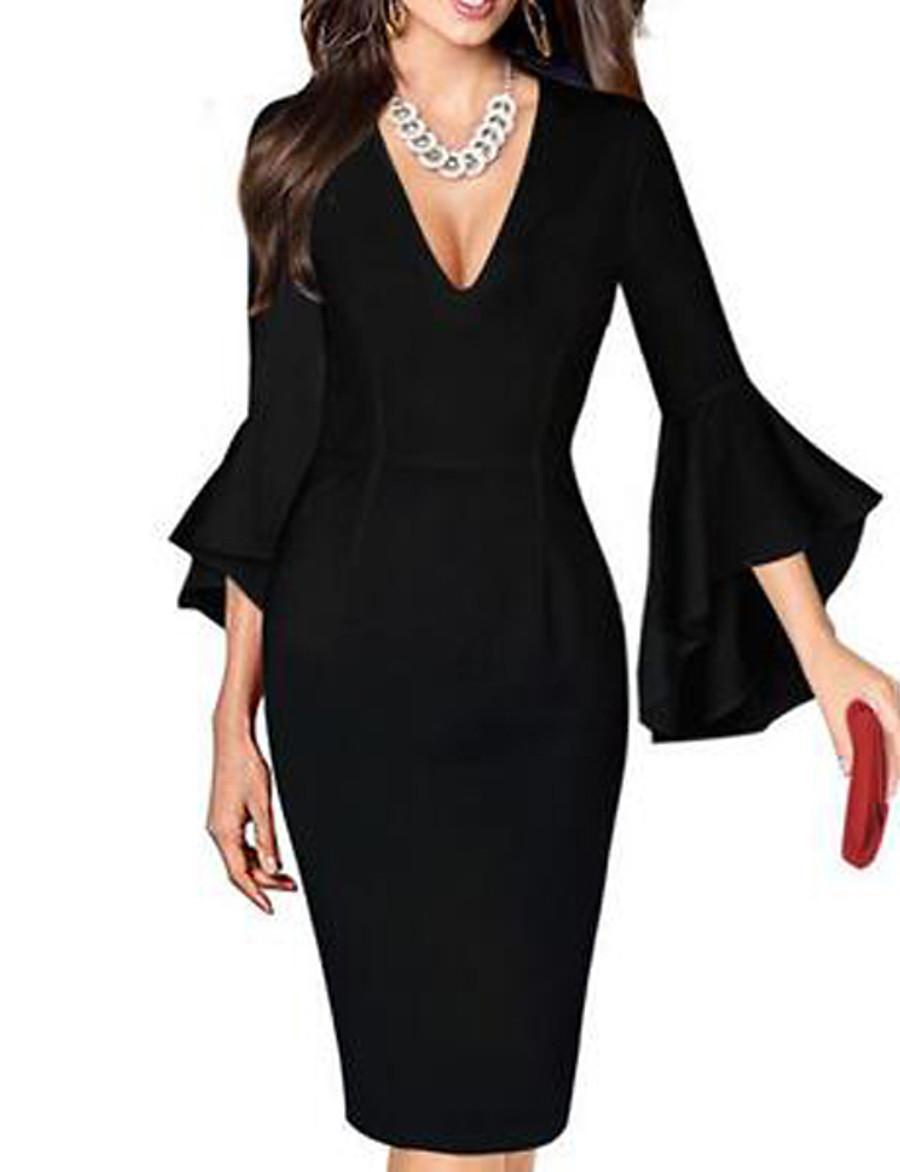 Women's Sheath Dress Knee Length Dress - Half Sleeve Print Spring Summer Deep V Plus Size Sexy Work Flare Cuff Sleeve Black / Red Black / White Red / White Rainbow White Purple Red Blushing Pink