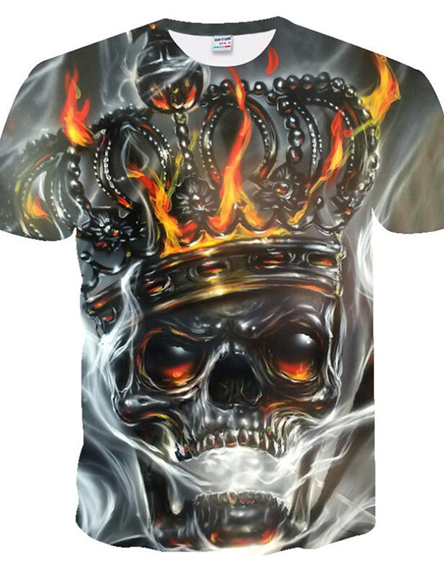 Men's T shirt Graphic 3D Skull Plus Size Print Short Sleeve Going out Tops Rock Punk & Gothic Gray
