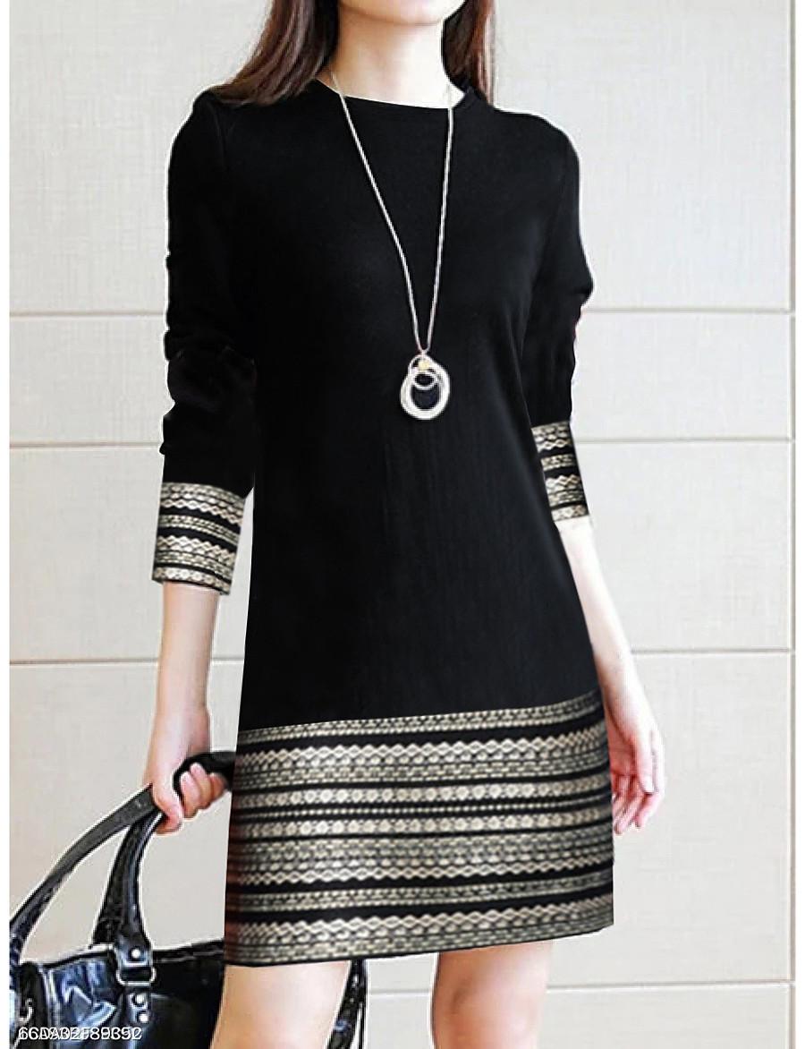Women's Black Dress Casual Spring Daily Sheath Geometric Stripes Stripe Color Block S M Slim / Cotton