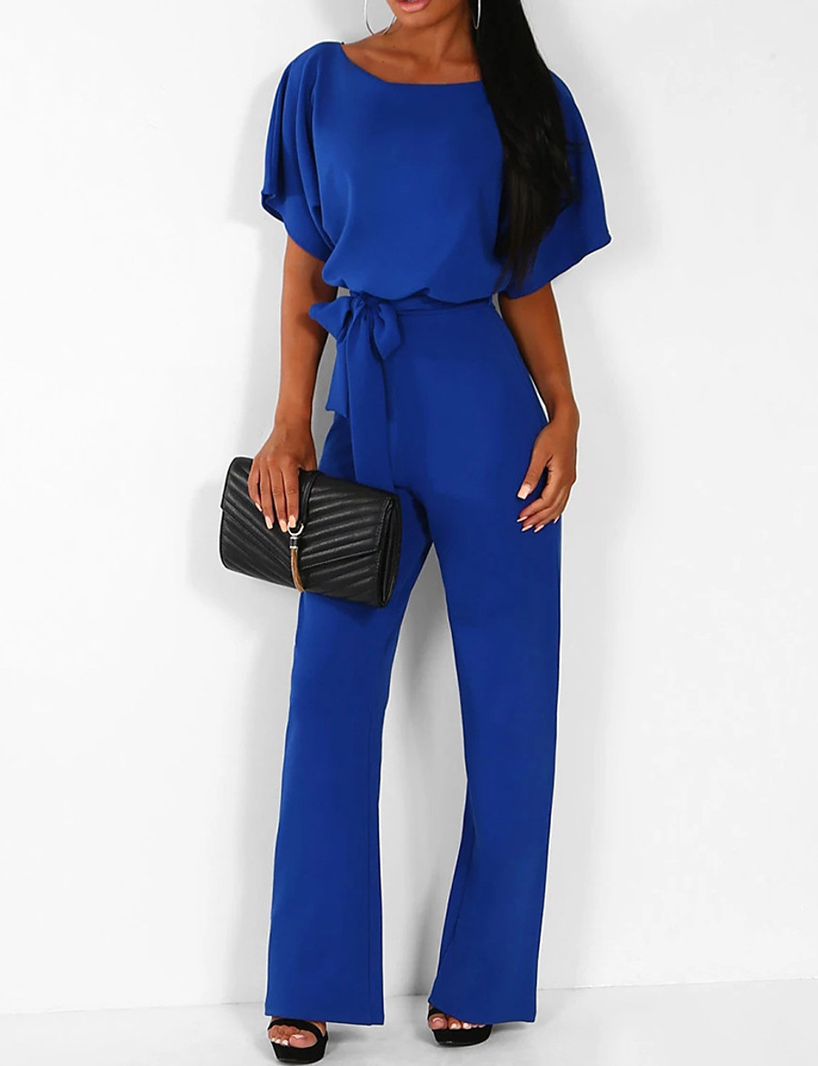 Women's Basic Casual Daily 2021 Blue Yellow Blushing Pink Jumpsuit Solid Colored Drawstring