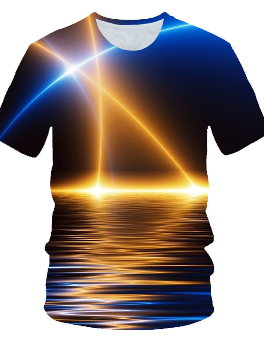 Men's T shirt Graphic Scenery Print Short Sleeve Daily Wear Tops Streetwear Exaggerated Royal Blue