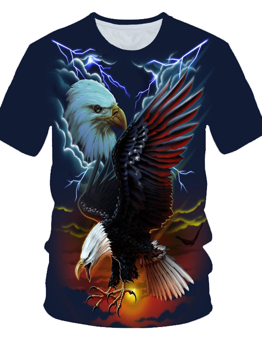 Men's T shirt Shirt Graphic 3D Animal Print Short Sleeve Daily Wear Tops Streetwear Exaggerated Round Neck Navy Blue / Club