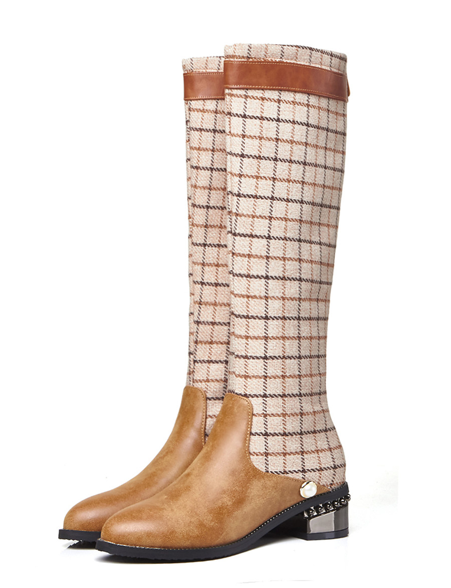 Women's Boots Knee High Boots Fashion Boots Combat Boots Cuban Heel Round Toe British Preppy Daily Party & Evening Plaid / Check PU Knee High Boots Winter Black / Brown