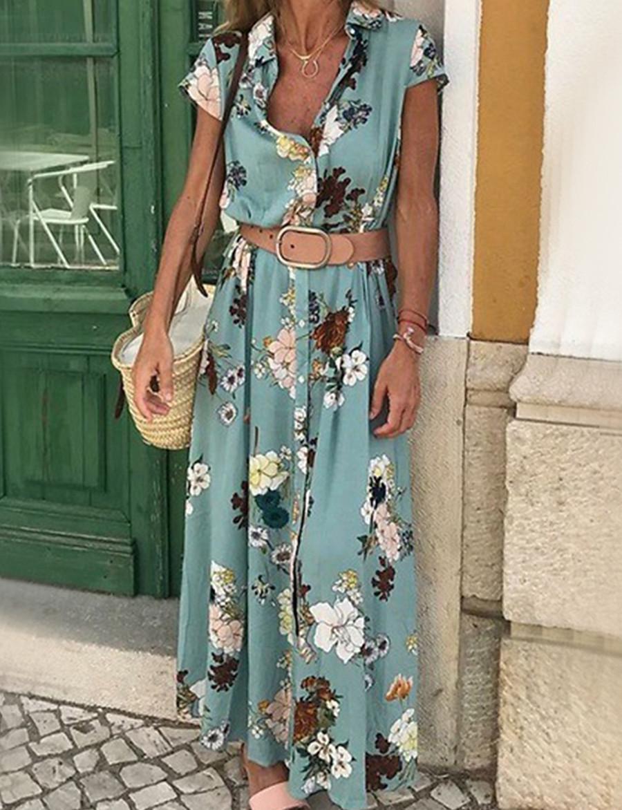 Women's Maxi Swing Dress - Short Sleeve Geometric Patchwork Print Shirt Collar Elegant Street chic Blue Purple Yellow Green S M L XL XXL