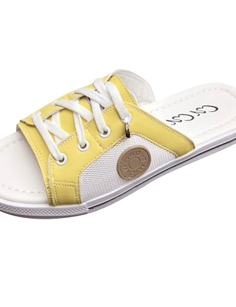 Women's Slippers & Flip-Flops Comfort Shoes Flat Heel PU Casual Summer Yellow / Light Green / White