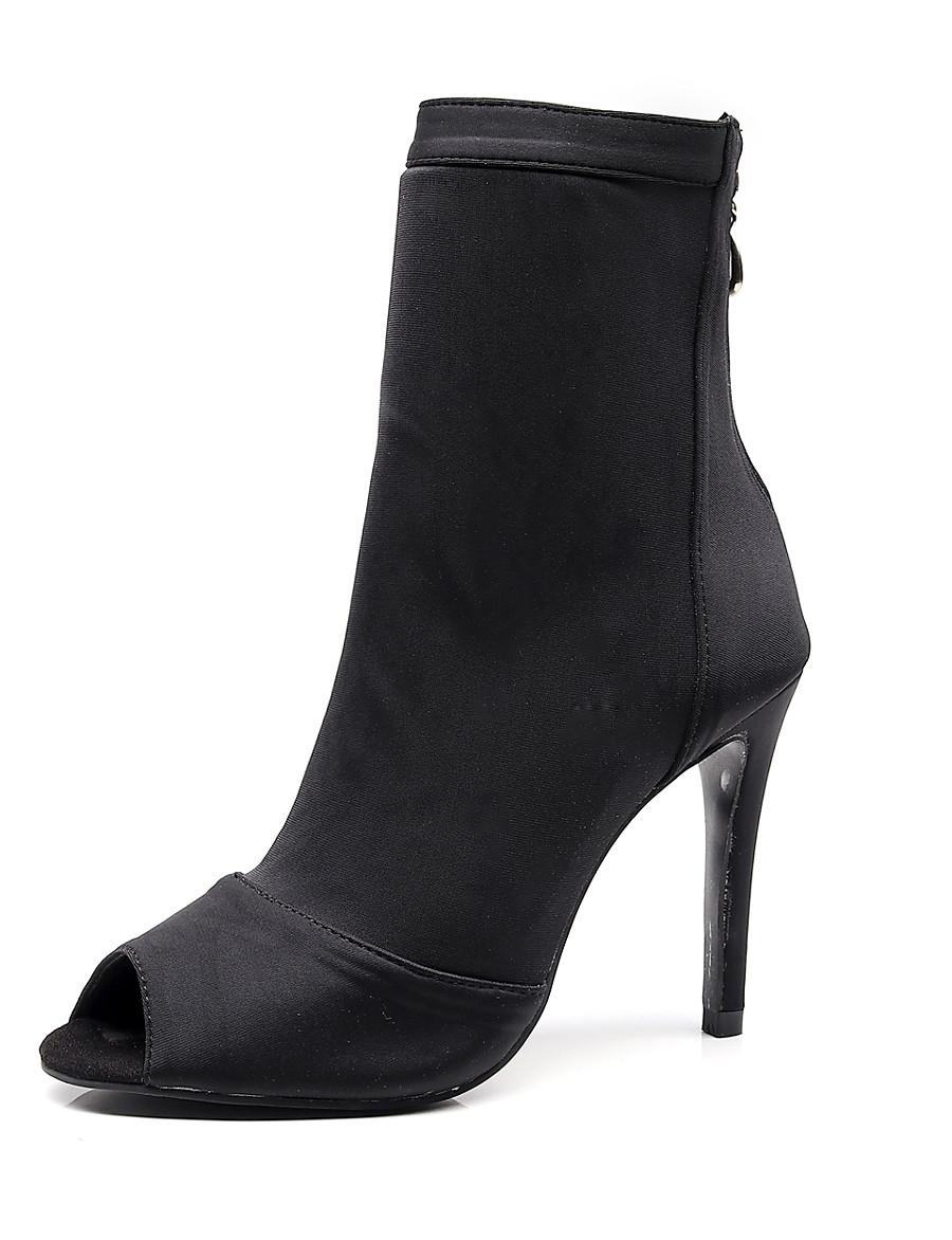 Women's Dance Boots Heel Slim High Heel Elastic Fabric Chain Black / Red / Blue / Performance / Practice