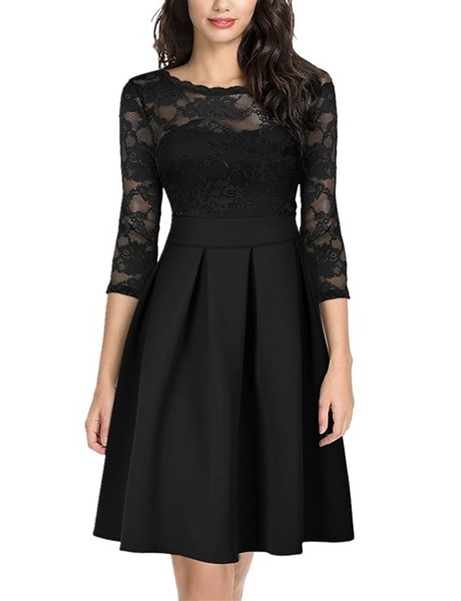 Women's Skater Knee Length Dress - 3/4 Length Sleeve Solid Colored Lace Patchwork Spring & Summer Elegant Going out Belt Not Included 2020 Black Green S M L XL XXL