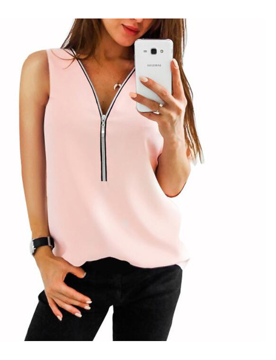 Women's Daily Slim Tank Top - Solid Colored Chiffon / Zipper / Fashion V Neck Red / Spring / Summer / Fall