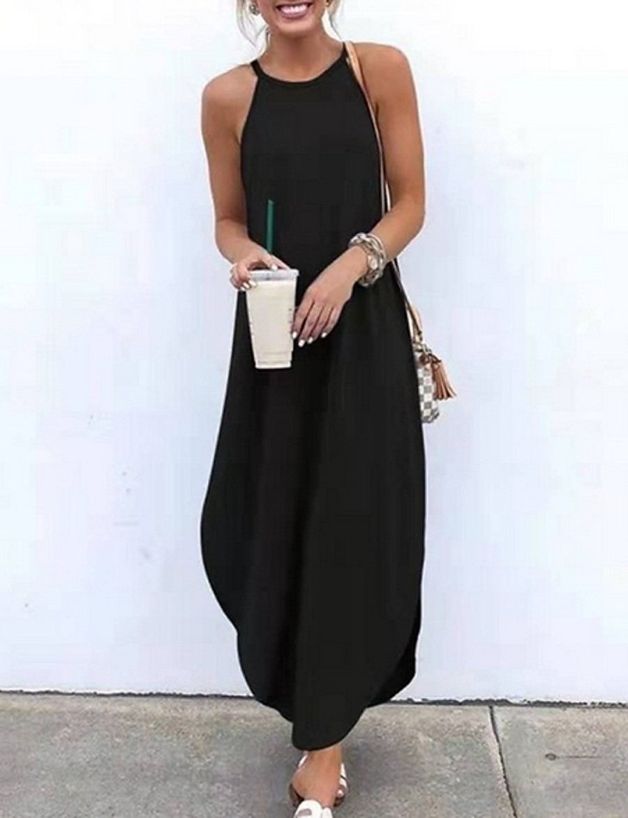 Women's Maxi T Shirt Dress - Sleeveless Halter Neck Black Blue Orange Green Brown Gray S M L XL XXL XXXL XXXXL XXXXXL