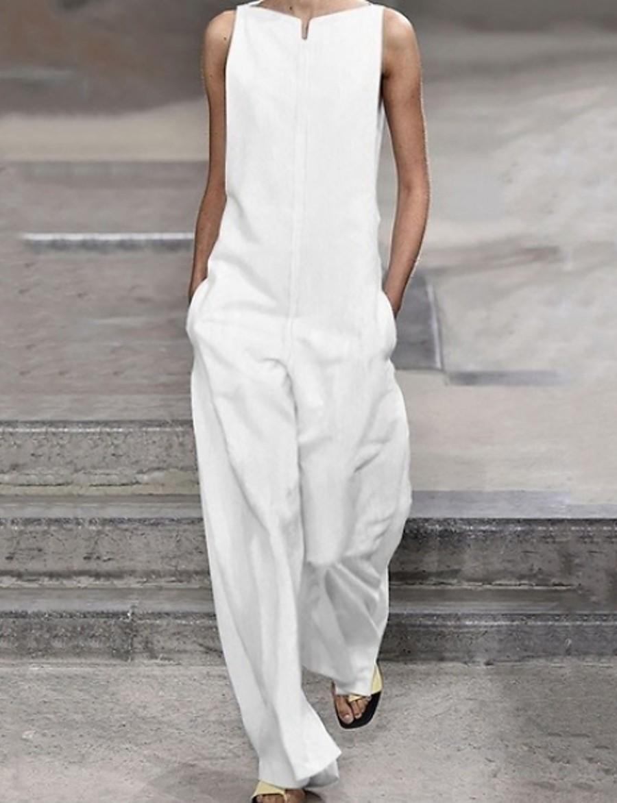 Women's White Black Wide Leg Slim Jumpsuit Onesie, Solid Colored S M L
