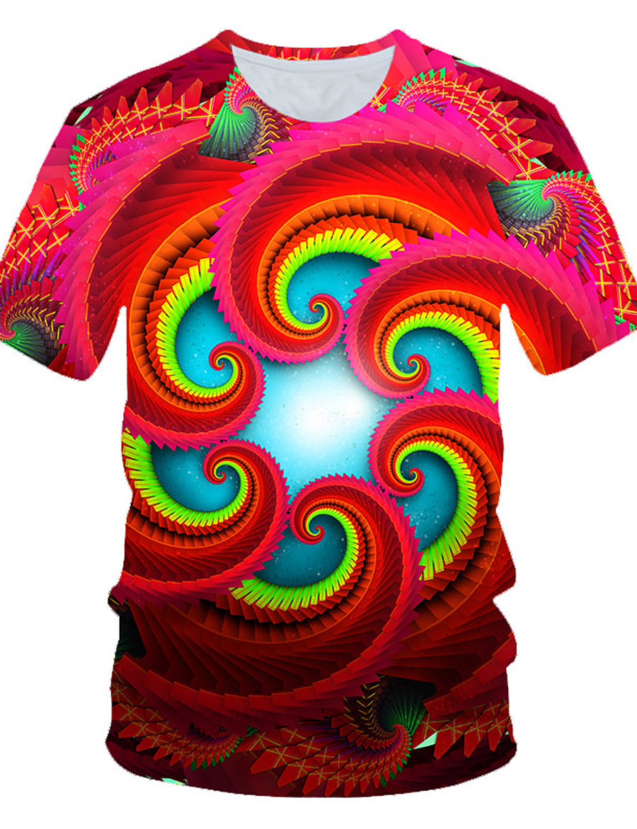 Men's T shirt Graphic Geometric Print Short Sleeve Daily Wear Tops Personalized Chic & Modern Streetwear Exaggerated Round Neck Red / Club