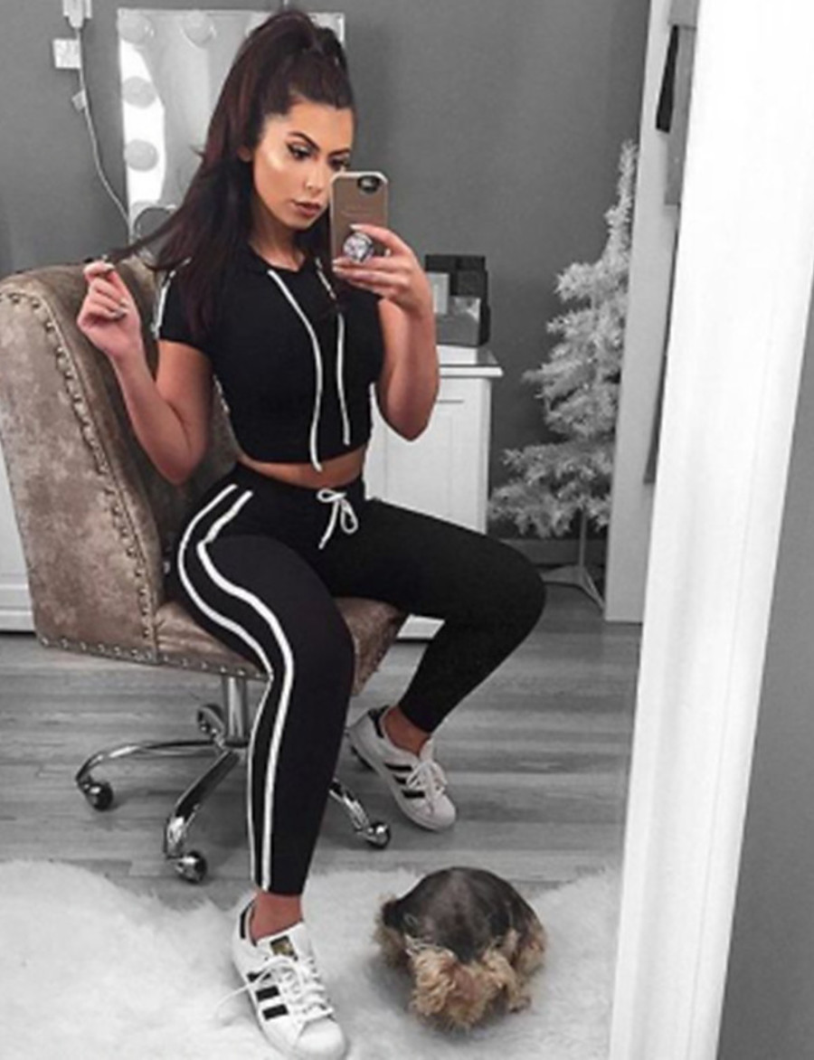 Women's Basic Striped Solid Color Weekend Two Piece Set Hoodie Pant Drawstring Tops