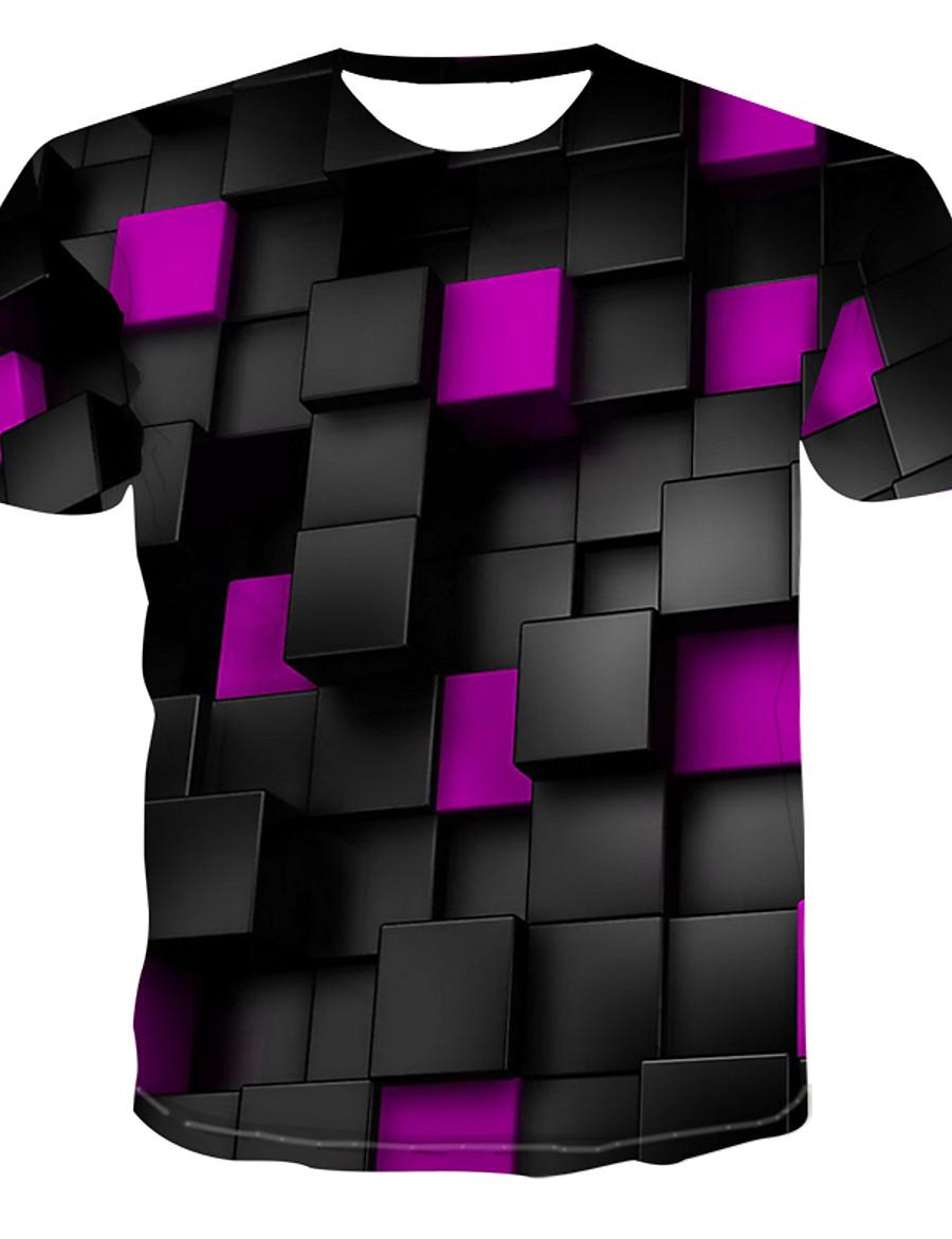 Men's T shirt Graphic Print Short Sleeve Casual Tops Blue Purple Yellow