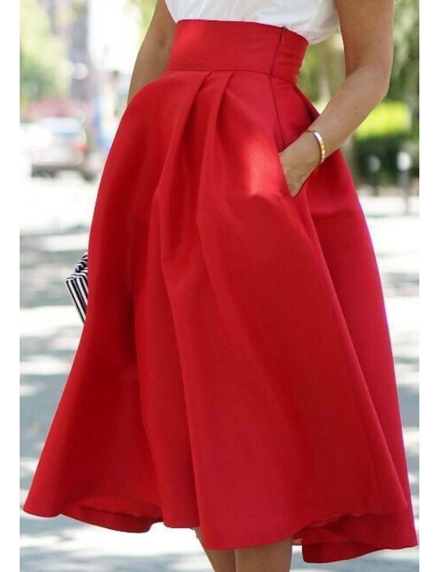 Women's Street chic A Line Skirts - Solid Colored Black Blue Red S M L
