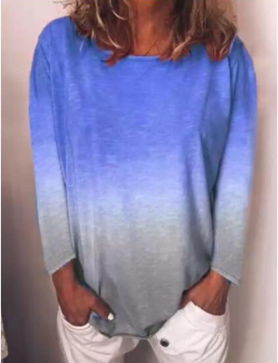 Women's Daily Wear T-shirt - Color Block Light Blue