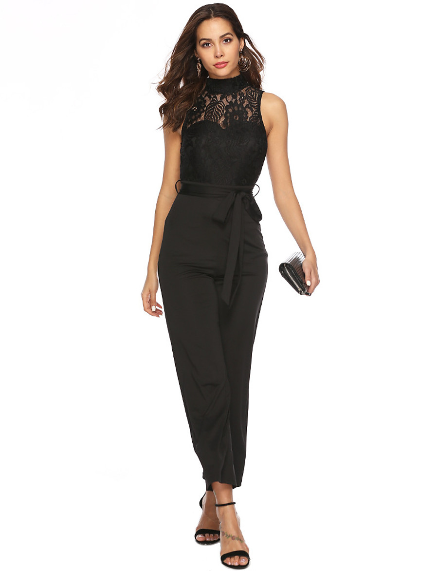 Women's Basic Black Jumpsuit Solid Colored Sequins Patchwork
