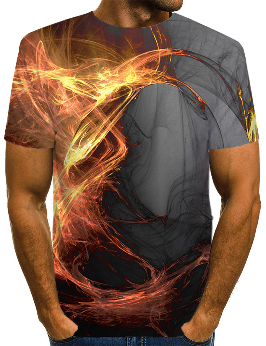 Men's T shirt Shirt Graphic Flame Print Short Sleeve Casual Tops Streetwear Exaggerated Round Neck Gray / Summer