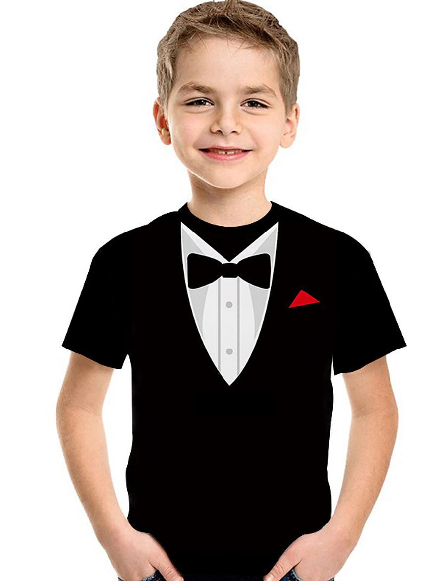 Kids Toddler Boys' T shirt Tee Short Sleeve Print Geometric 3D Print Black Children Tops Summer Active Basic