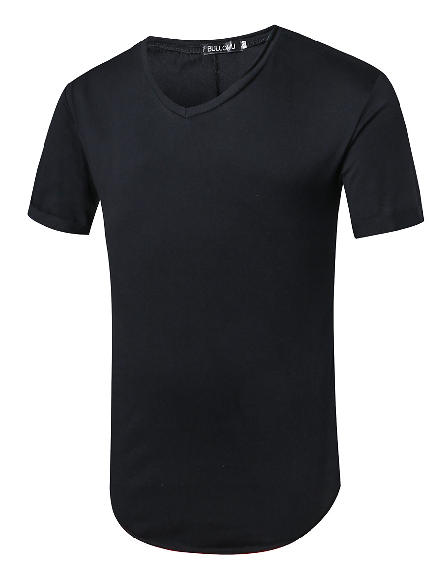 Men's Daily Casual Basic EU / US Size T-shirt - Solid Colored V Neck White / Short Sleeve