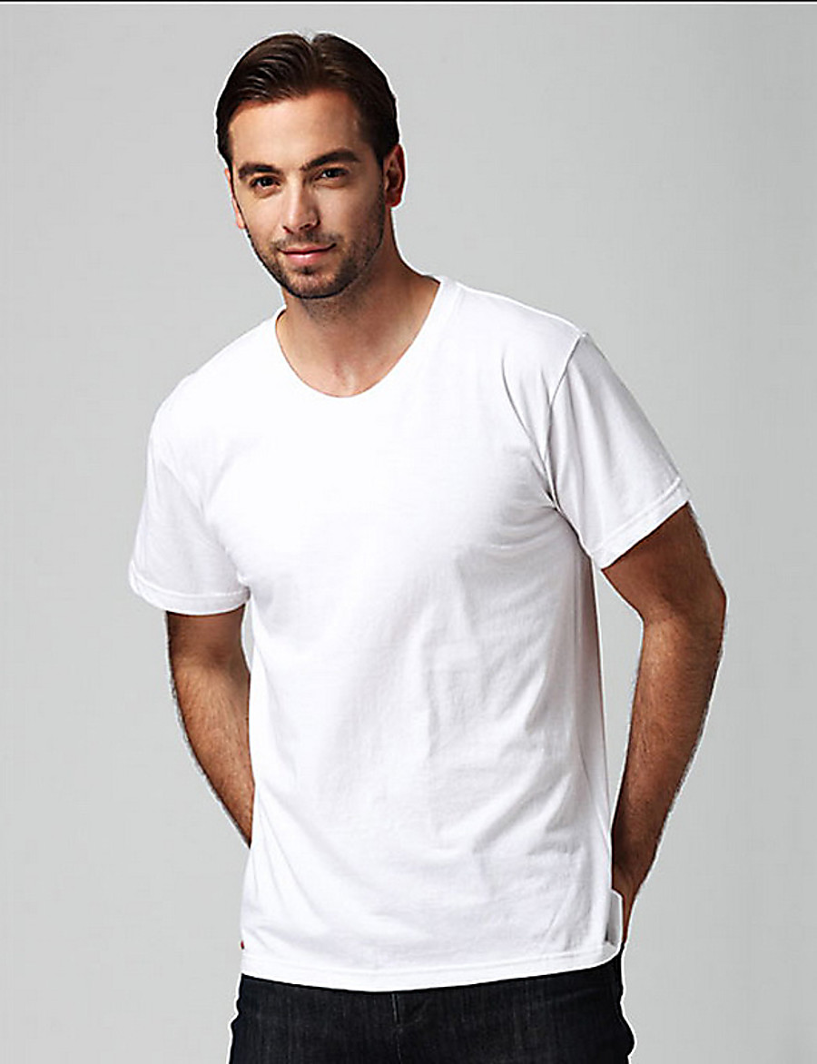 Men's Solid Colored T-shirt Basic Daily Casual Round Neck White / Short Sleeve