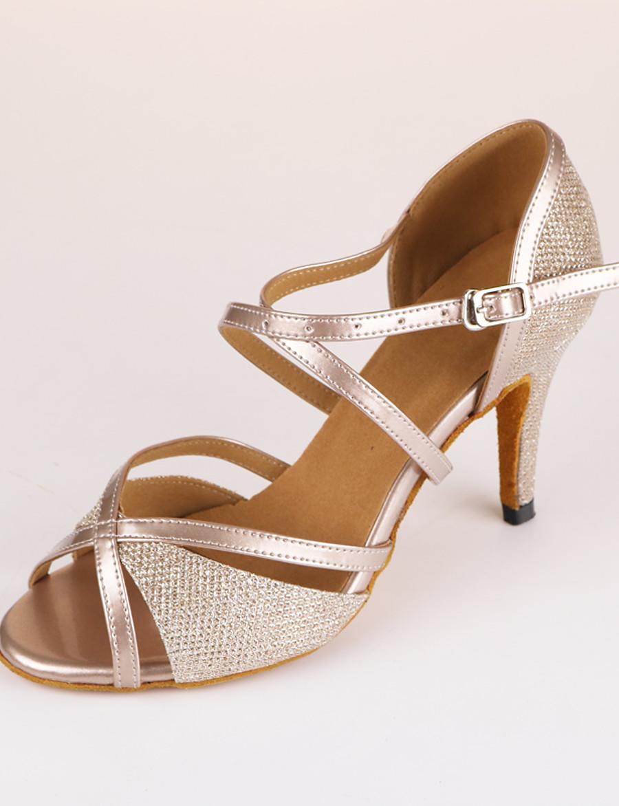 Femme Chaussures de danse Chaussures Latines Salon Chaussures de Salsa Danse en ligne Talon Mince haut talon Beige Sangle croisée / Entraînement / Utilisation / Cuir