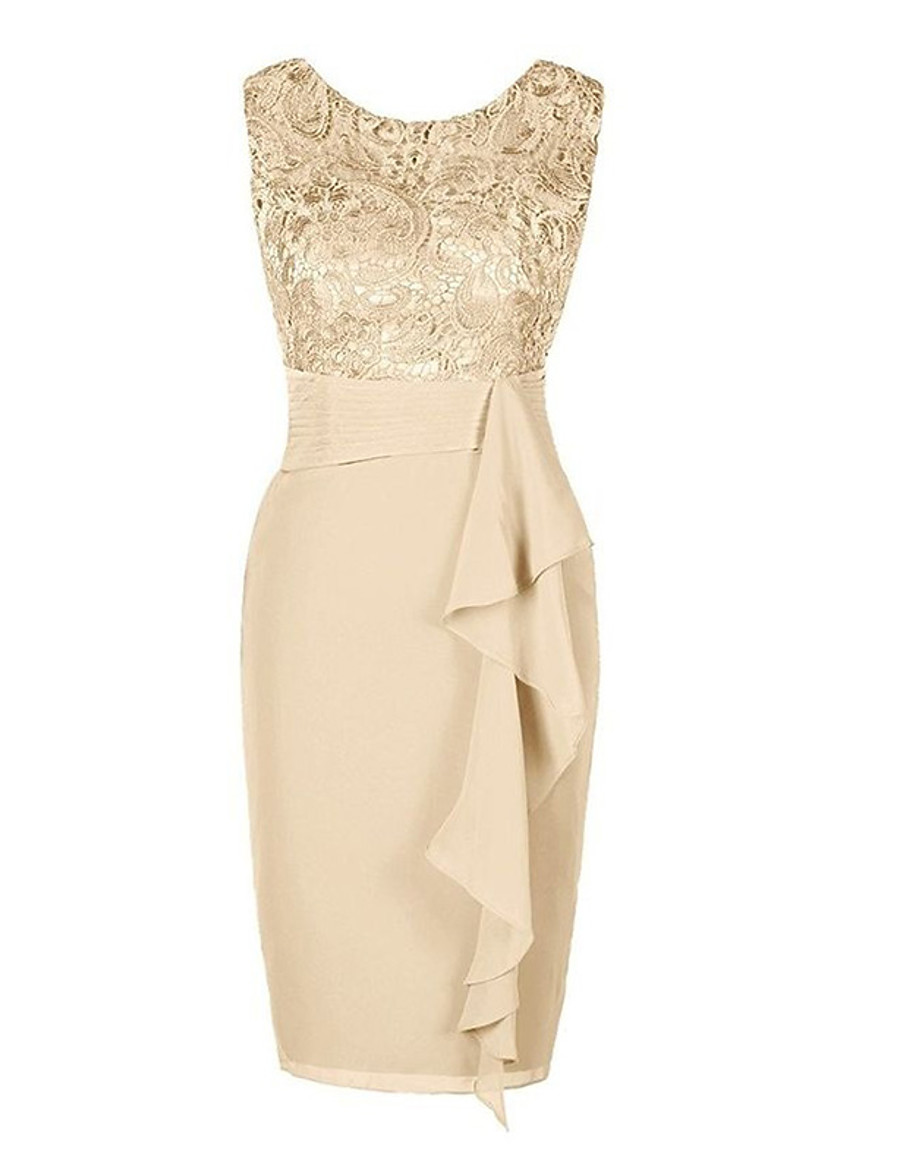 Women's Plus Size Cocktail Party Going out Elegant Slim Bodycon Sheath Dress - Paisley Solid Colored Lace Ruched Beige Gray S M L XL