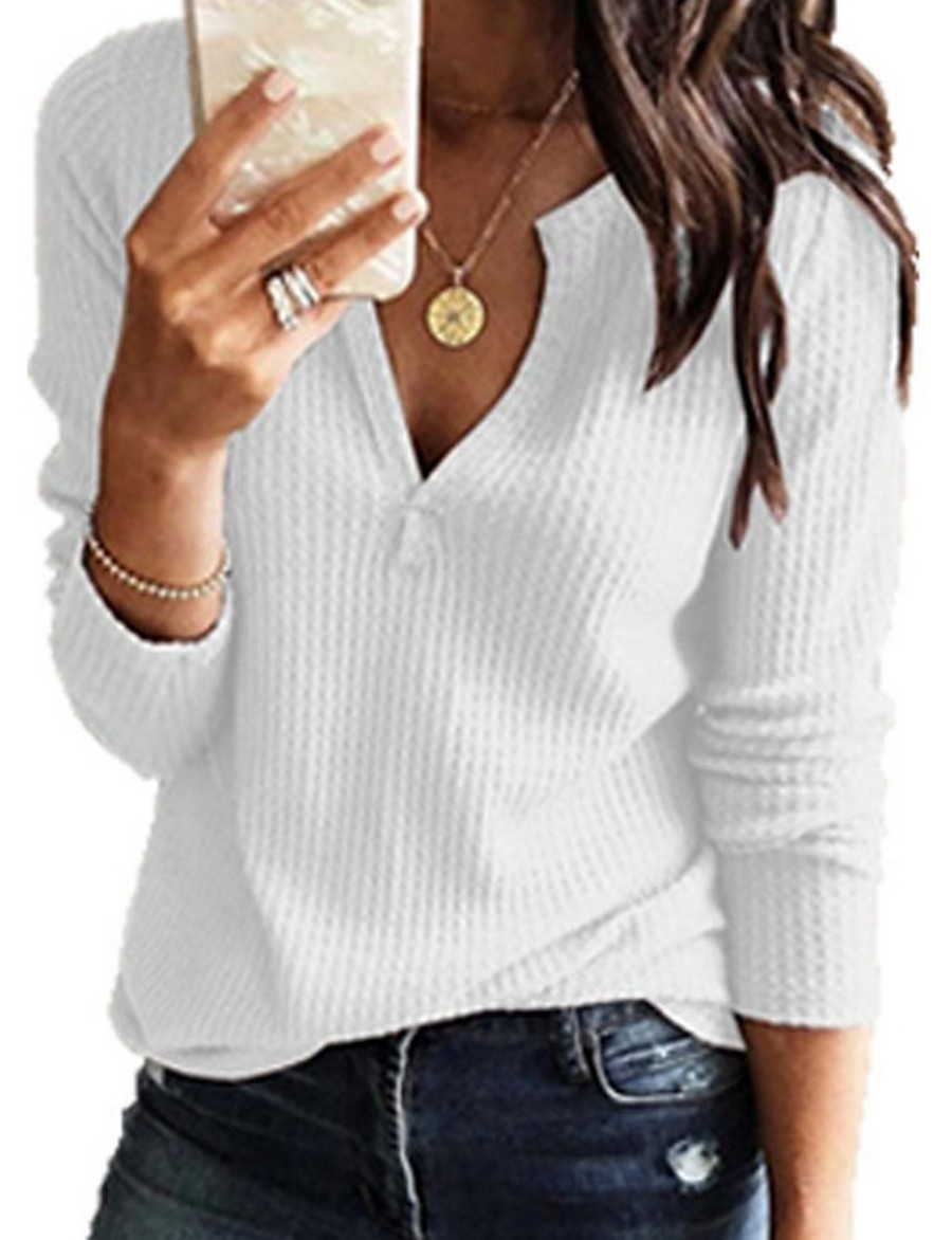Women's Blouse Shirt Solid Colored Plain Long Sleeve Knitting V Neck Tops Casual Basic Basic Top White Black Red